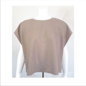 Zara Woman's Basic Wide Tan T Shirt Size Medium